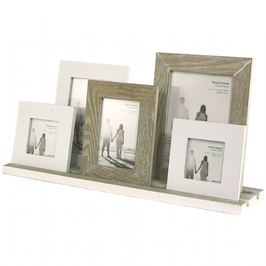5 Rustic Wooden Photo Frames on Long Stand